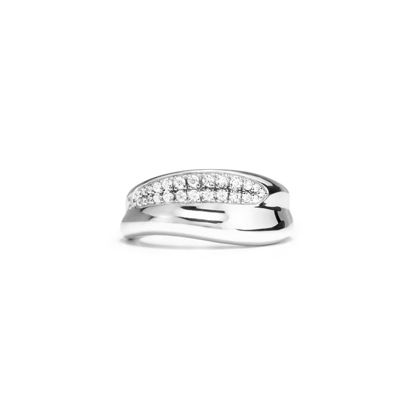 Eros Sculptural Band Ring with Diamonds