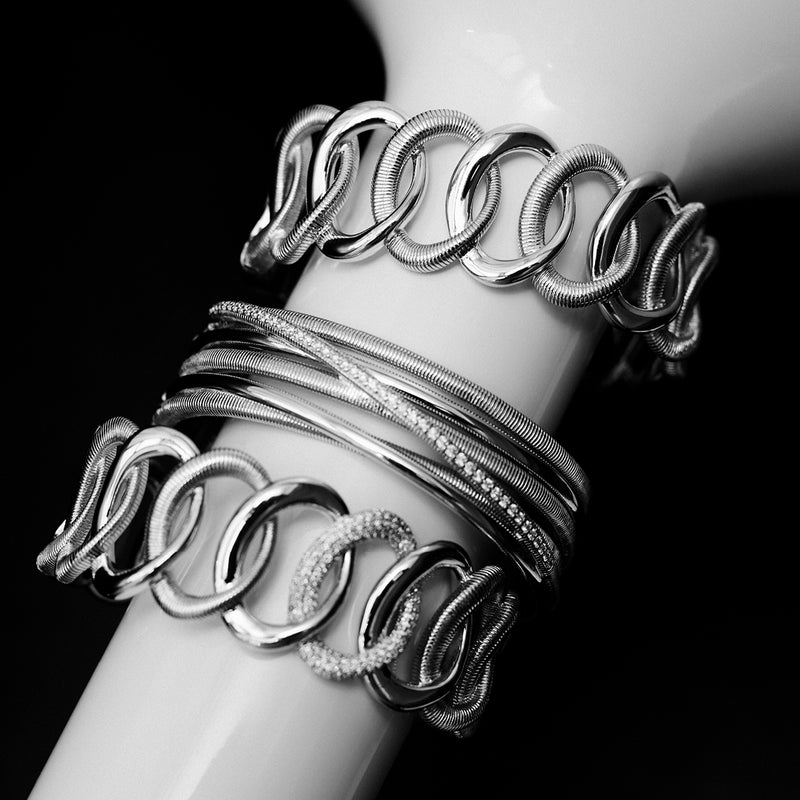 Eternity Interlocking Link Cuff Bracelet with Cultured Diamonds