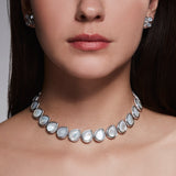 Jardin Petal Necklace with Mother of Pearl and Diamonds