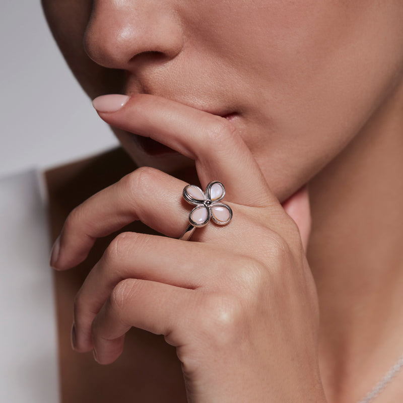 Jardin Flower Ring with Pink Mother of Pearl