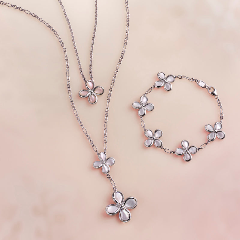 Jardin Floral Drop Necklace with Mother of Pearl