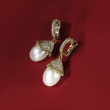 Paloma Medium Earrings with Freshwater Pearl and Diamonds in 18K