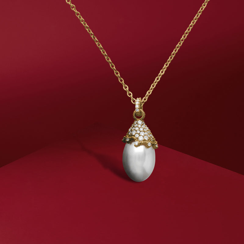 Paloma Necklace with Freshwater Pearl and Diamonds in 18K