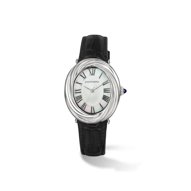 Eternity Watch with Mother of Pearl, Sapphire and Black Genuine Crocodile Strap