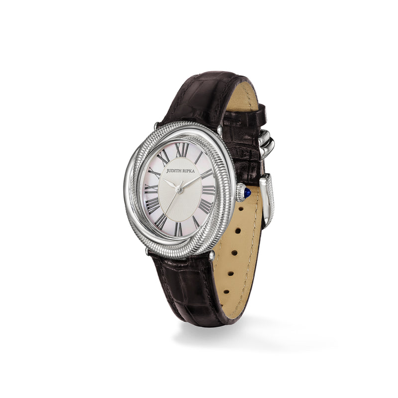 Eternity Watch with Mother of Pearl, Sapphire and Darkest Brown Genuine Crocodile Strap