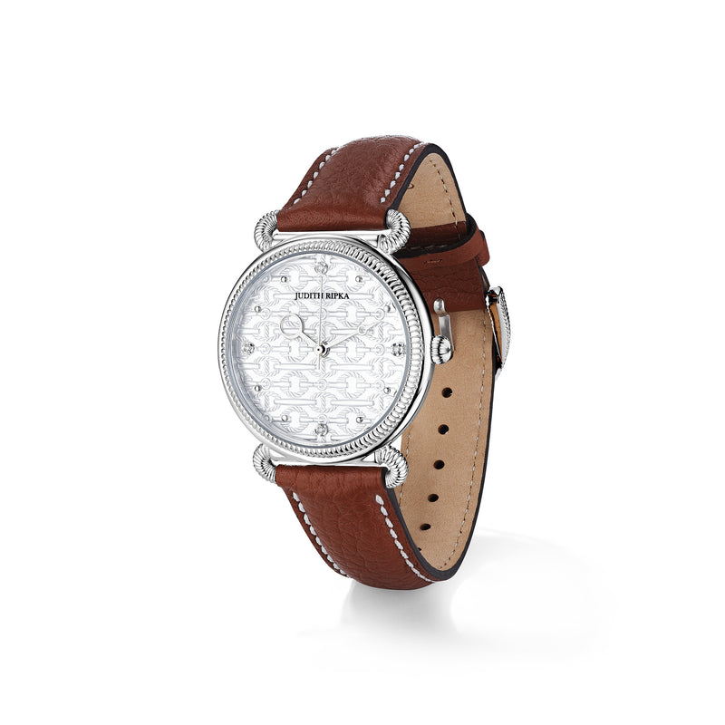 Vienna Watch with Mother of Pearl, Diamonds and Natural Leather Strap