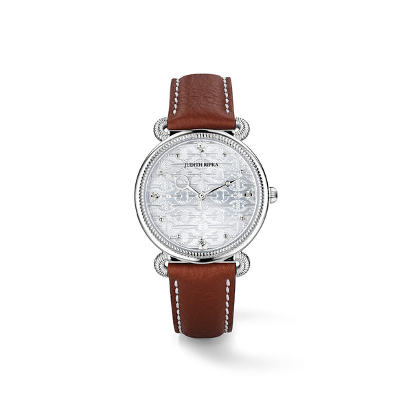 Vienna Watch with Diamonds and Natural Leather Strap