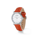 Vienna Watch with Mother of Pearl, Diamonds and Orange Leather Strap