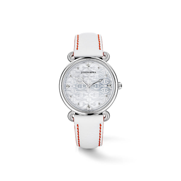 Vienna Watch with Diamonds and White Leather Strap