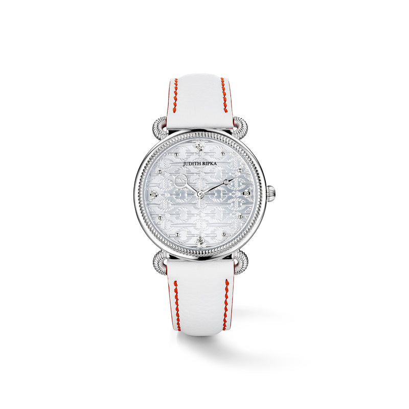Vienna Watch with Mother of Pearl, Diamonds and White Leather Strap