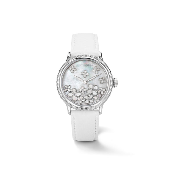 Jardin Watch with Mother of Pearl, Diamonds and White Leather Strap