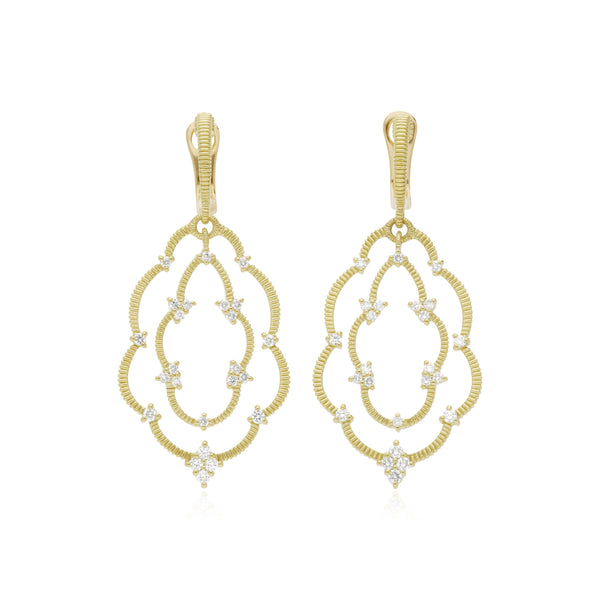 18K Lattice Large Scalloped Earrings with Diamond Accents