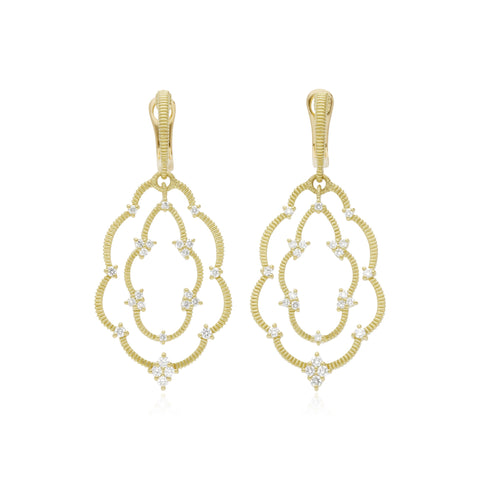 JUDITH RIPKA 18K LTD Lattice Large Scalloped Earrings with Diamond Accents