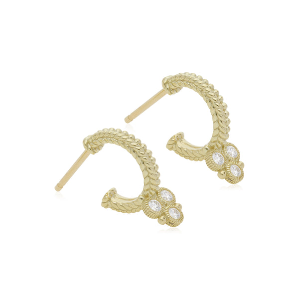 Little Luxuries Small Hoop Earrings with Diamond Gothic Drops