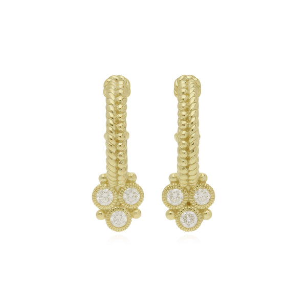 RIPKA Juliette Small Hoop Earrings with Diamond Gothic Drops