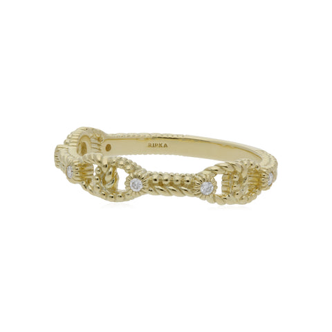 RIPKA Juliette Triple Linked Band Ring with Diamond Accents