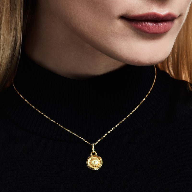 Little Luxuries Sun Medallion with Diamonds in 18K