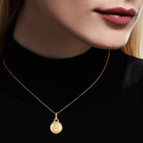 Little Luxuries Moon and Stars Medallion Necklace with Diamonds in 18K