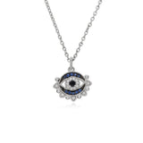 Little Luxuries Black Spinel, Blue Sapphire, & White Topaz Evil Eye Necklace