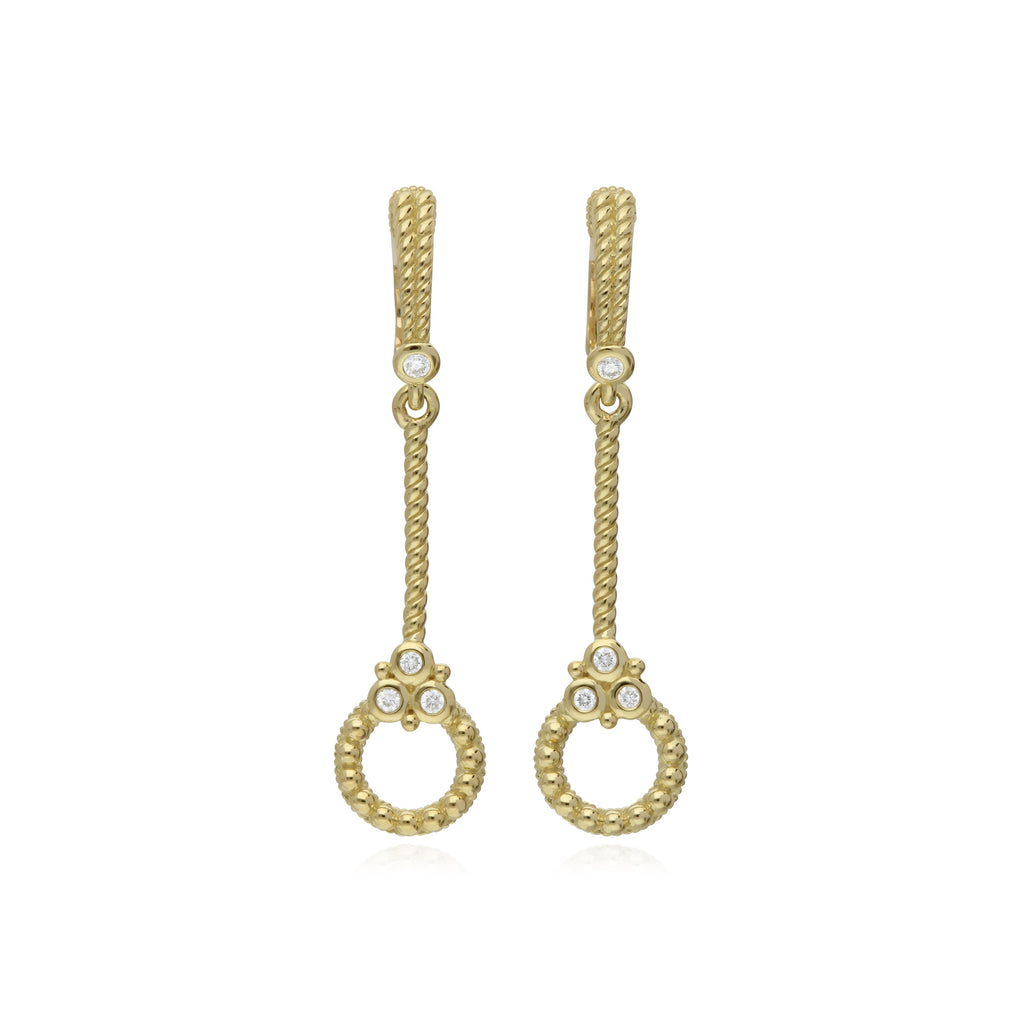 Juliette Stick Earrings with Circle Drops and Diamond Gothics