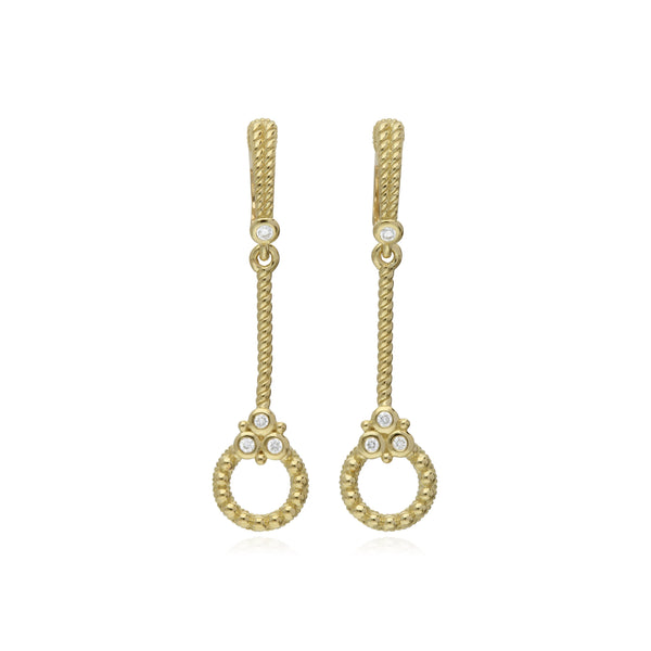 RIPKA Juliette Stick Earrings with Circle Drops and Diamond Gothics