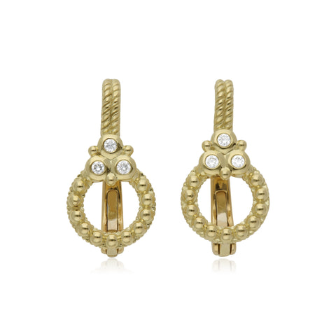 RIPKA Juliette Circle Drop Earrings with Diamond Gothics