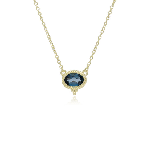RIPKA La Petite Horizontal Oval London Blue Topaz Necklace