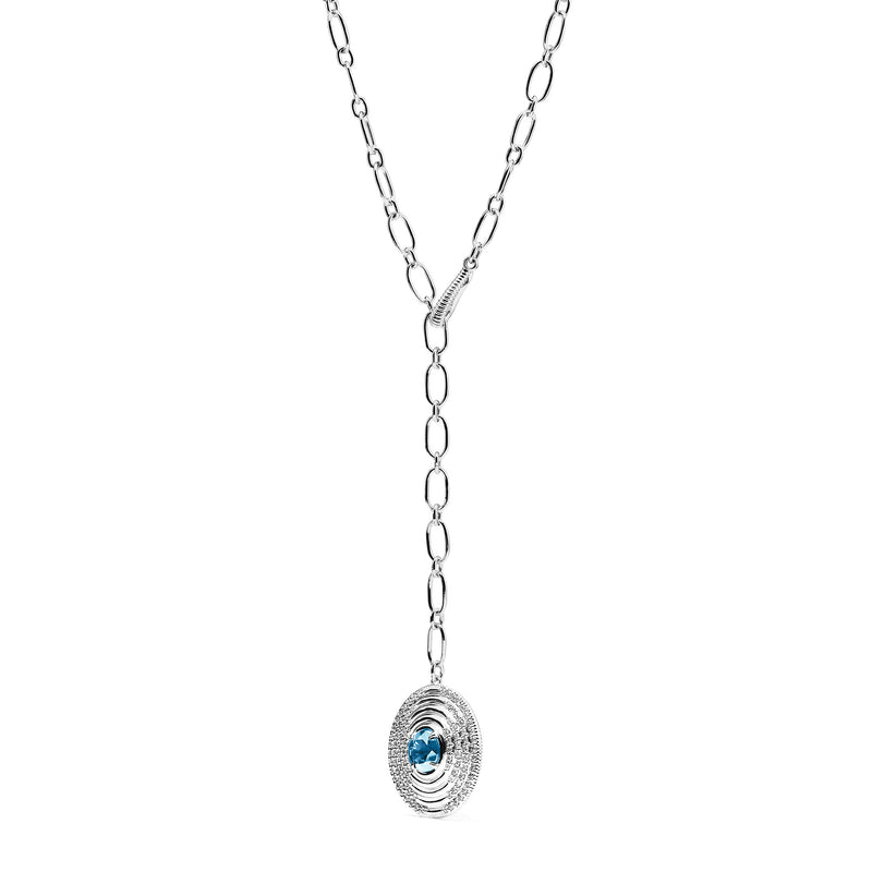 Max Drop Necklace with Swiss Blue Topaz and Diamonds