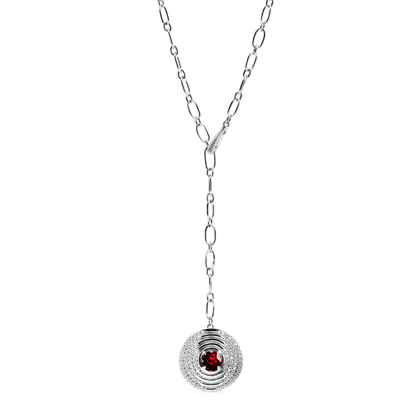 Max Drop Necklace with Garnet and Diamonds