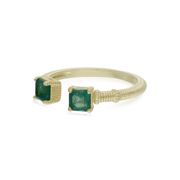 RIPKA La Petite Double Cushion Emerald Ring