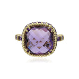 RIPKA La Petite Cushion Cut Lavender Amethyst Cocktail Ring with Amethyst Baguettes