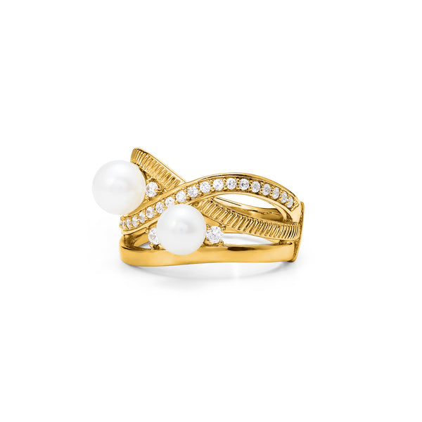 Shima Band Ring with Freshwater Pearls and Diamonds in 18K