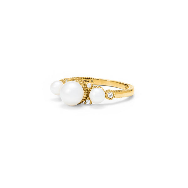 Shima Pearl Ring with Freshwater Pearls and Diamonds in 18K