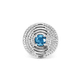 Max Round Ring with Swiss Blue Topaz and Diamonds