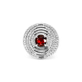 Max Round Ring with Garnet and Diamonds