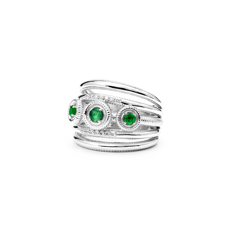 Max Band Ring with Emerald and Diamonds
