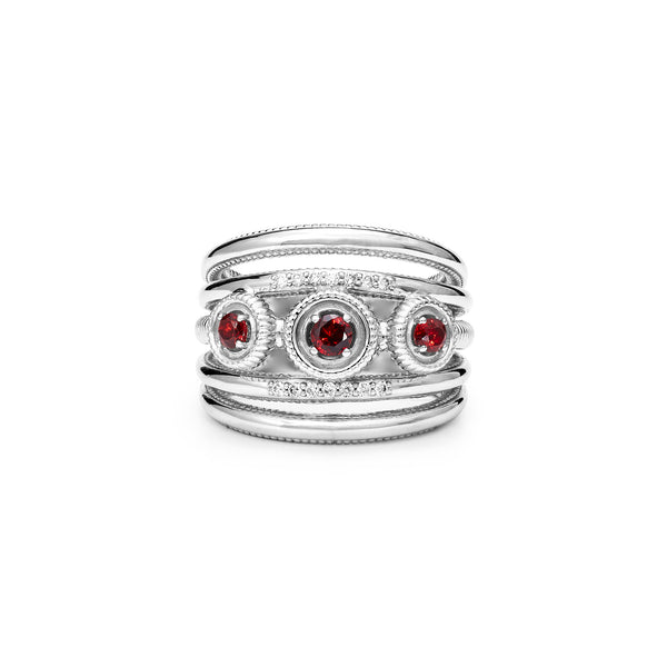 Max Band Ring with Garnet and Diamonds
