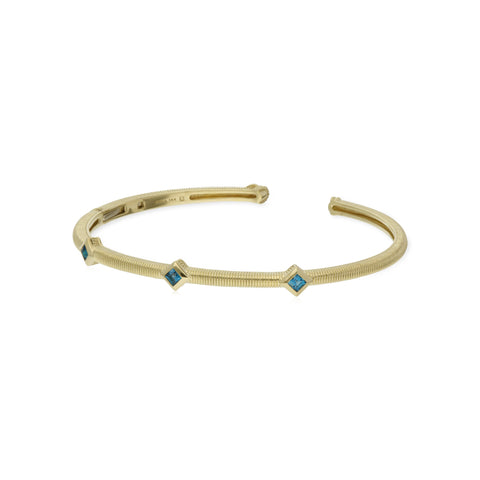 RIPKA La Petite Square Cut Swiss Blue Topaz Three Stone Cuff