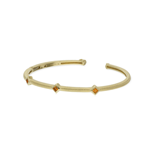 Estate Square Cut Citrine Three Stone Cuff