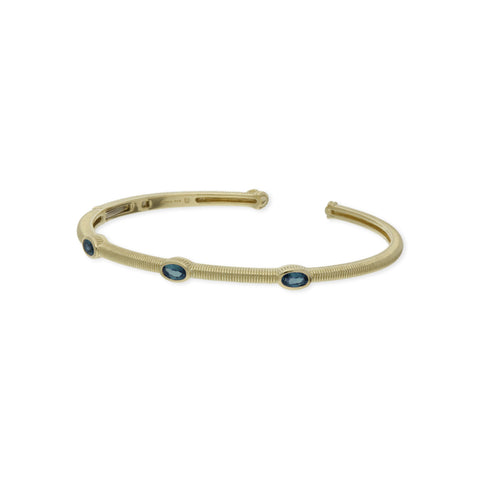 RIPKA La Petite Oval London Blue Topaz Three Stone Cuff