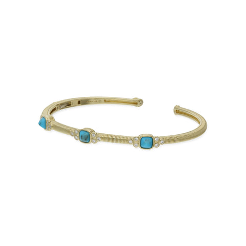 RIPKA La Petite Turquoise Sugarloaf Stone Cuff with Diamond Accents