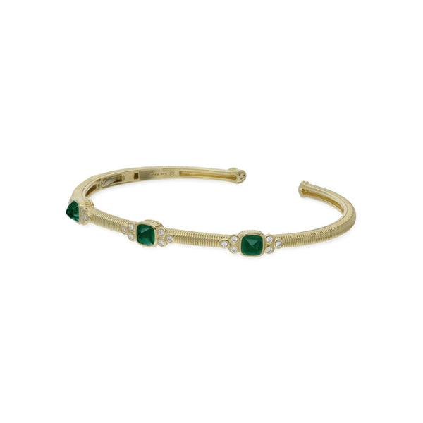 RIPKA La Petite Green Chalcedony Sugarloaf Stone Cuff with Diamond Accents