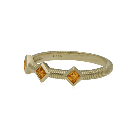 Estate Band Ring with Three Square Cut Citrine Stones