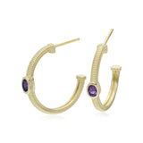 RIPKA La Petite Oval Amethyst Hoop Earrings
