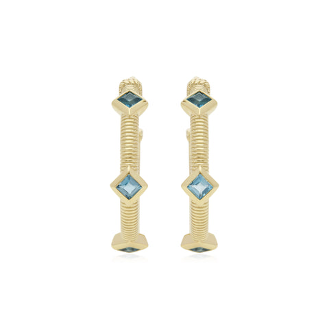 RIPKA La Petite Square Cut London Blue Topaz Three Stone Hoop Earrings