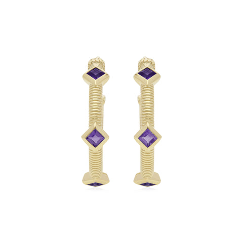 RIPKA La Petite Square Cut Amethyst Three Stone Hoop Earrings