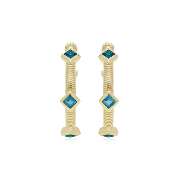 RIPKA La Petite Square Cut Swiss Blue Topaz Three Stone Hoop Earrings