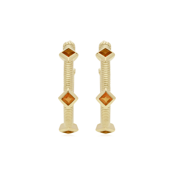 RIPKA La Petite Square Cut Citrine Three Stone Hoop Earrings
