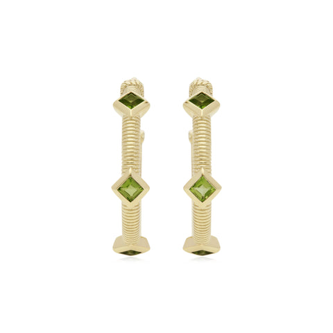 Estate Square Cut Peridot Three Stone Hoop Earrings