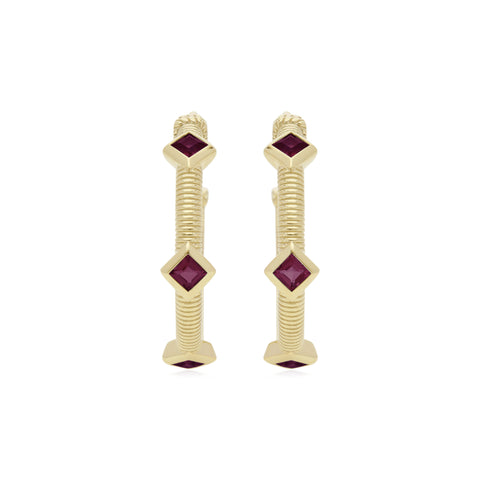 RIPKA La Petite Square Cut Rhodolite Three Stone Hoop Earrings